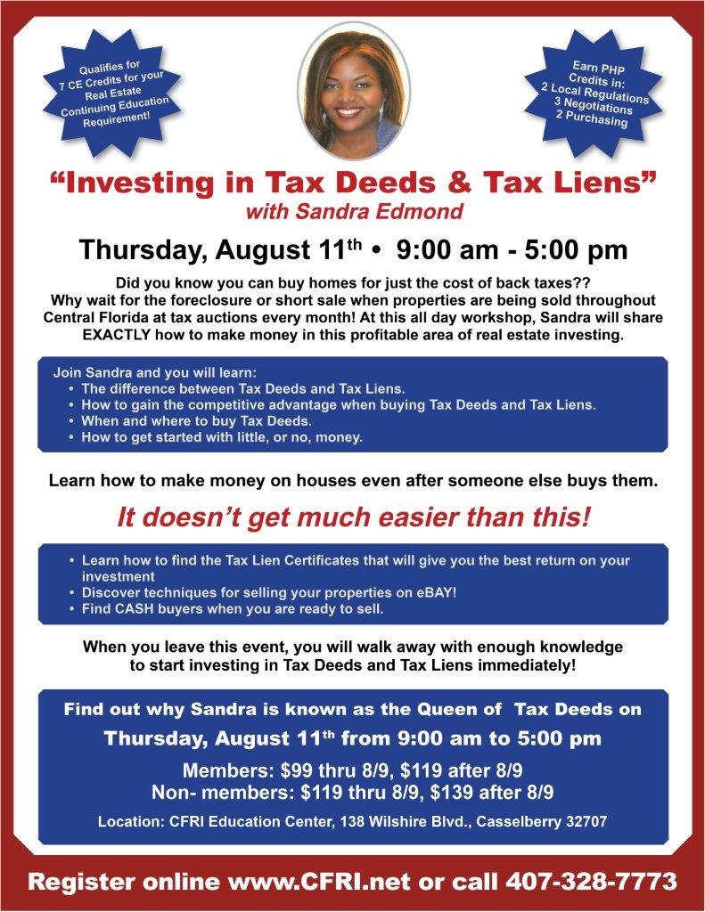 Cfri Investing In Tax Deeds Tax Liens With Sandra Edmond